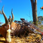 This image shows a proud bow hunter and his trophy Blesbok that he harvested. when he bow hunted South Africa.